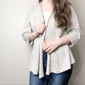 Eileen Fisher Tan and White Cardigan
